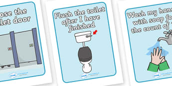 Using The Toilet Signs - Toilet Area Sign, Classroom Area Signs, KS1, Banner, wash hands, flush toilet, flush the toilet,  toilet, toilets, boys, girls, Foundation Stage Area Signs, Classroom labels, Area labels, Area Signs, Classroom Areas, Pos