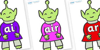 Phase 3 Phonemes on Aliens - Phonemes, phoneme, Phase 3, Phase three, Foundation, Literacy, Letters and Sounds, DfES, display