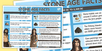 Stone Age Facts Poster - stone age, facts, poster, display, stone