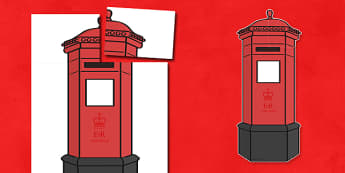 Giant Display Role Play Postbox Cut-Out - post box, postbox, post office, post office role play, posting, Christmas letters, role play, stamps, envelopes, postman