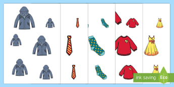 Clothes-Themed Size Ordering - EYFS, Early Years, Clothes, Clothing, Getting Dressed, Maths, Mathematics, Shape, Space and Measure,