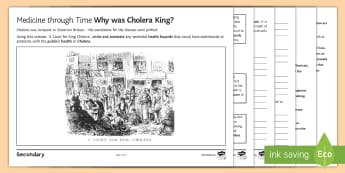 Medicine through Time: Why was Cholera King? Source Analysis Activity Sheet - GCSE History, medicine through time, cholera, public health, industrial revolution, health hazards,