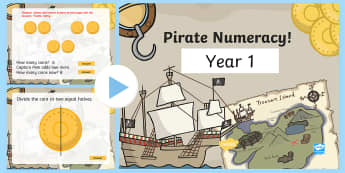 Year 1 Pirate-Themed Numeracy PowerPoint  - pirate, pirates, numeracy, DCF, pirate maths, maths, JiT, computing,Welsh