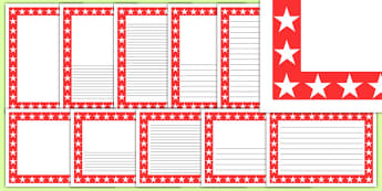 Red and White Star Page Borders - red, white, star, page borders, writing frames