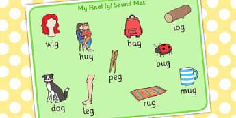 Final G Sound Word Mat - final, g, sound, word, mat, word mat
