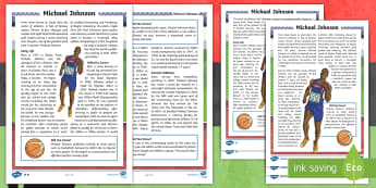 KS2 Black History Month Michael Johnson Differentiated Fact File - athletics, sprinting, Olympic, world record, gold