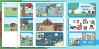 Treasures in the Garden Story Sequencing Cards - order, beginning, middle, end, characters, sort