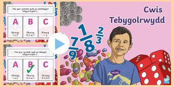 Tebygolrwydd Pŵerbwynt - Probability, mathemateics, tebygolrwydd, mathemateg, rhif, cyfartal, tebyg,,Welsh
