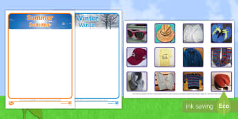 Photo Summer and Winter Clothes Sorting Activity English/German - summertime, Timw, EAL, German, English-German,,German-translation