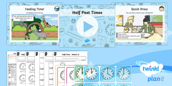 PlanIt Y1 Measurement Lesson Pack Telling the Time (2) - Measurement, measures, telling the time, tell the time, analogue clock, clock, telling time to half
