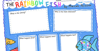 Book Review Writing Frames to Support Teaching on The Rainbow Fish - the rainbow fish, rainbow fish, the rainbow fish review, the rainbow fish book review, rainbowfish