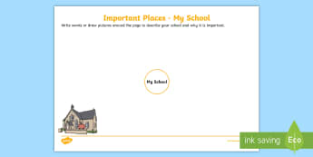 Important Places - My School Activity Sheet - Australian Curriculum HASS, places, geography, natural, locations, change, cared for, familiar featu