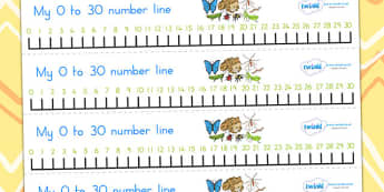 Minibeasts Number Line 0 30 - count, counting, counting aid