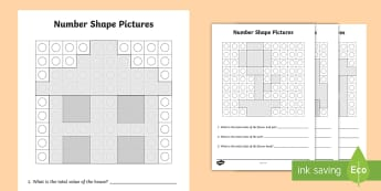 Number Shape Pictures Activity Sheets - Number Shapes, Missing Shapes, Numicon, counting, number recognition, worksheets, number combination