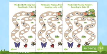 Differentiated Counting in 2s to 20 Minibeast Activity Sheets - worksheets, counting in 2s, 2s, counting, multiplies of 2, minibeasts, bugs, insects