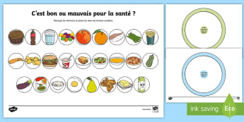 Feuille d'activités : Bon ou mauvais pour la santé ? - Semaine Du Goût, Nourriture, Aliments, Goûter, Cycle 1, Cycle 2, Sain