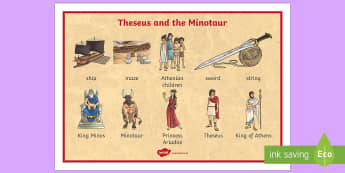 Theseus and the Minotaur Word Mat - theseus, minotaur, visual aid