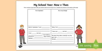 My School Year Writing Activity Sheet - ROI, English, School, year, Activity Sheet, Writing, worksheet, Irish