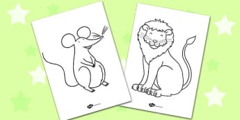The Lion And The Mouse Colouring Sheets - colouring, colour, lion