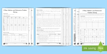 Math Two Step Addition and Subraction Problems Differentiated Activity Sheets - Lower Key Stage Two, Lower Key Stage 2, LKS2, Year 3 and 4, Y3&4, Maths, solve addition and subtract