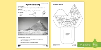 Pyramid Building Activity Sheet - amazing fact august, model making, paper craft, KS1, 3D shapes, amazing fact, worksheet