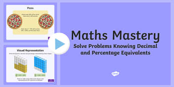 Year 5, Fractions and Decimals, Solve Problems Decimal and Percentage Equivalents Maths Mastery PowerPoint