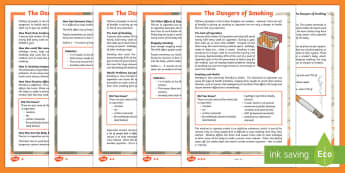 The Dangers of Smoking Differentiated Fact File - KS2, smoking, fact file, Science, healthy living