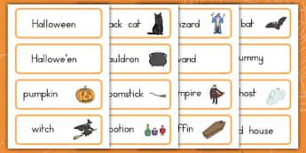 Halloween Vocabulary Cards - ESL Halloween Words