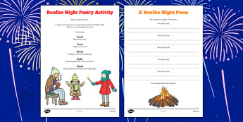 Bonfire Night Poetry Activity - fireworks, november, 5th, fifth, poem, colour, noise, writing, english, fiction, key stage 2, ks2, ks1