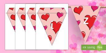 Happy Valentine's Day Display Bunting Spanish - Valentines Day, 14th February, display, bunting, spanish