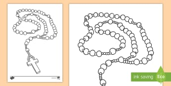 Month of the Holy Rosary Colouring Page - mary, god, catholic, rosary beads,
