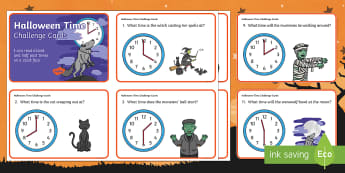 Halloween Themed Time Challenge Cards - o'clock, half past, clocks, spooky, 31st October