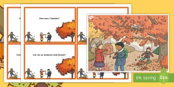 Scenario e domande autunnali Attività - scenario, immagine, autunno, domande, risposte, pensiero, critico, materiale, scolastico, italiano,