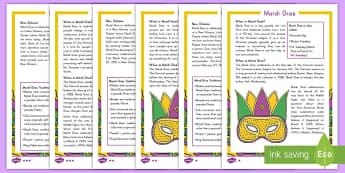 Mardi Gras Fact File - Mardi Gras, Fat Tuesday, Shrove Tuesday, Carnival, New Orleans, Traditions, KS1