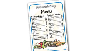 Sandwich Shop Role Play Menu - sandwich shop, role play, menu, sandwich shop menu, role play menu, menu for sandwich shop, menu for role play