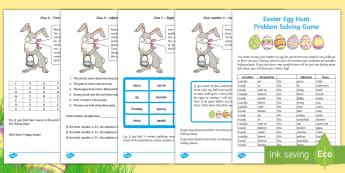 Easter Egg Hunt Problem Solving Game - Murder Mystery Problem Solving, Easter, Easter Egg Hunt, clues, adjectives, noun, grammar, problem s