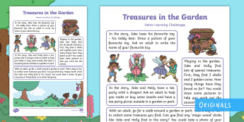 Treasures in the Garden Home Learning Challenges Nursery FS1 - EYFS, Early Years, Homework, Home Learning, Twinkl Fiction, Twinkl Originals, Story, Treasures In Th