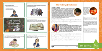 The History of Halloween Upper Primary Fact Sheet and Task Cards Activity Pack - Reading, comprehension, Reading groups, reading strategies, literacy,Australia
