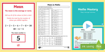 Year 6 What is the Mean in Maths Resource Pack - Year 6, Y6, Calculate and interpret the mean as an average,  Handling Data, find the average, Data C