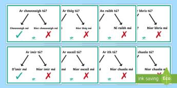 An Aimsir Chaite   Ceisteanna agus Freagraí Display Posters Gaeilge - Gramadach na Gaeilge, grammar, irish, an aimsir chaite, tenses, verbs, ceisteanna, questions, answer