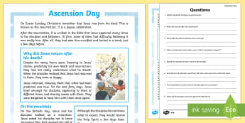 Ascension Day Differentiated Reading Comprehension Activity - KS2 Ascension day, 25th May, Ascension, Christianity, Jesus, disciples, reading comprehension, KS2,