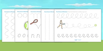 Wimbledon Themed Pencil Control Worksheets - tennis, sports, pe