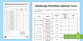 Edinburgh Marathon Sponsor Form Addition Activity - CfE Edinburgh Marathon (27th of May), sponsor form, addition, money, giftaid, ,Scottish, worksheet