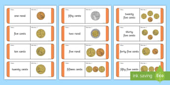South African Money Less Than R1 Loop Cards - loop cards, money, cents, rands, south africa, currency, games, maths games