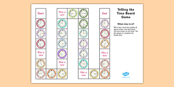 Telling the Time Board Game KS1 O'clock, Half Past, Quarter To and Past - telling the time, board game, ks1, o'clock, half past, quarter to, quarter past