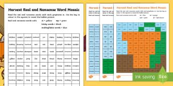Harvest Phase 4 Phonics Mosaic Activity Sheets - autumn, Decode, Read, Blend, Pattern, worksheet