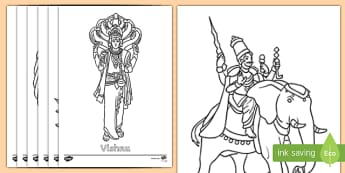 Hindu Gods Names and Words Colouring Page