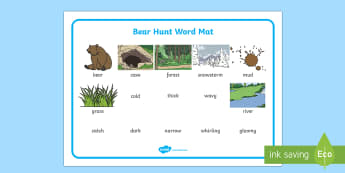 We're Going On A Bear Hunt Word Mat (Images) - Bear Hunt, Michael Rosen, resources, swishy swashy, Bear Hunt, Bear Hunt Story, splash splosh, thick oozy, deep dark cave, family, journey, story, story book, story book resources, story