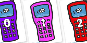 Numbers 0-100 on Phones - 0-100, foundation stage numeracy, Number recognition, Number flashcards, counting, number frieze, Display numbers, number posters