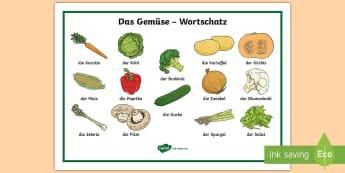 Vegetable Word Mat German  - drink, healthy, eating, food, Deutsch, Gemüse, MFL
